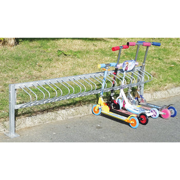 SCHOOL SCOOTER RACKS, Single-sided, Floor Mounted, Extension Rack, 15 scooter 2.25m width, Each