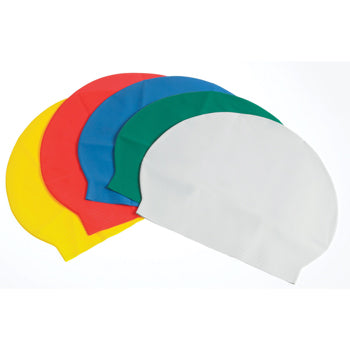 SWIMMING CAPS, Latex, Single Colour, White, Pack of 12