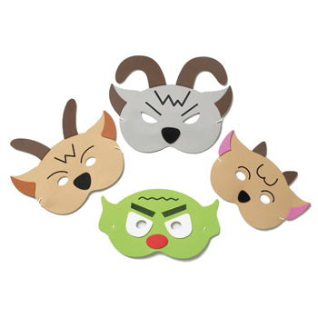 TRADITIONAL STORY MASK SET, The Three Billy Goats Gruff, Set of 4