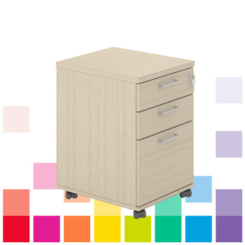 DRAWER UNITS, Mobile Under Desk, 2 Drawers & 1 Filing Drawer, Beech, Smartbuy