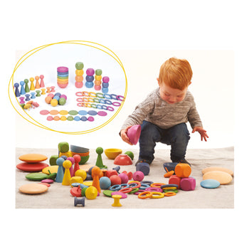 RAINBOW WOODEN SUPER SET, Set of 84
