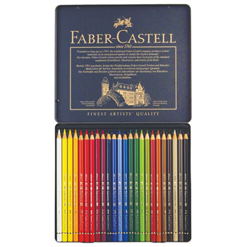 ARTIST'S QUALITY COLOURED PENCILS, Faber-Castell Polychromos, Pack of 24