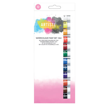 PAINT, WATERCOLOUR, Artiste, Pack of 12 x 12ml