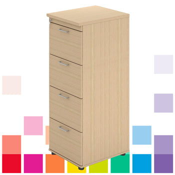 LOCKABLE, WOOD EFFECT FILING CABINETS, 4 Drawers, Beech, Smartbuy