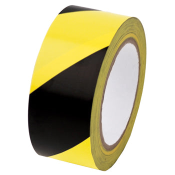 HAZARD WARNING TAPE, PVC, Black and Yellow Stripes, Each