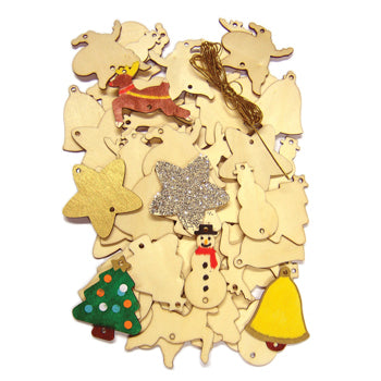 WOODEN DECORATIONS, Pack of 54