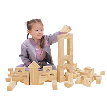 CONSTRUCTION, Wood Effect Soft Blocks, Age 2 +, Set of 68 pieces