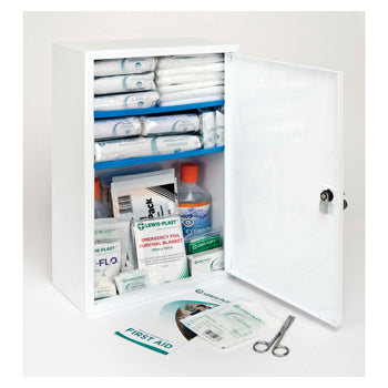 FIRST AID CABINET WITH CONTENTS, 51-100 Person Kit, 530 x 530 x 200mm, Each