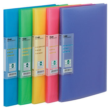 PRESENTATION FOLDERS WITH GLASS CLEAR POCKETS, Bright Colours, 30 pocket, Blue, Pack of 10