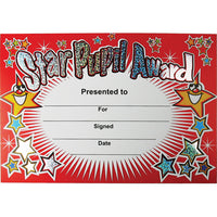 CERTIFICATE CARD, Sparkling Star Pupil Award, Pack of 20