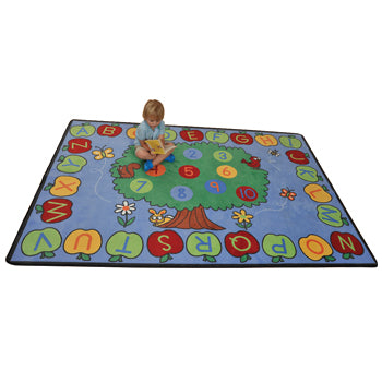 LEARNING RUGS, CHILDREN'S CUT PILE RUGS, Trees, Apples, Alphabet & Numbers, Rectangular, 2565 x 1780mm, Each