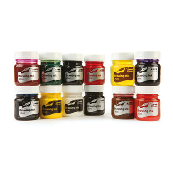 DRAWING INK, Waterproof, Small, Assorted, Set of 12 x 28ml