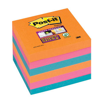 POST-IT(R) SUPER STICKY COLOUR NOTES, Bangkok, 76 x 76mm, Pack of 6