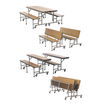 TABLE AND SEATING UNITS, 2800 BENCH UNIT - 3 IN 1 TABLE, 2440mm Length - 690mm Height, Cloud Nebula