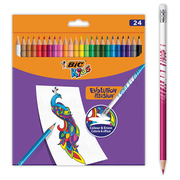 STANDARD HEXAGONAL COLOURED PENCILS, BiC(R) Kids Evolution Illusion, Pack of 24