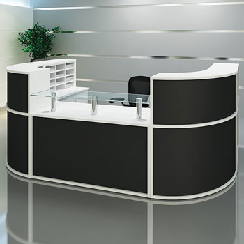 RECEPTION COUNTERS, Curved, 1600mm radius, Beech