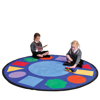LEARNING RUGS, CHILDREN'S CUT PILE RUGS, Geometric Shapes, Round, 1980mm diameter, Each