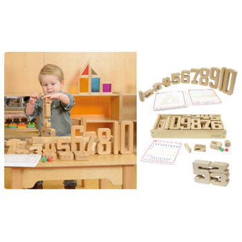 WOODEN NUMBERS LEARNING BLOCK SET, Age 3+, Set of 36