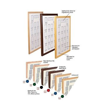 PICTURE FRAMES, STAFF PROFILE BOARD, 1020 x 810mm - To Display 50 Photos, Satinwood/Blue, Each
