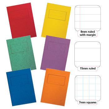 EXERCISE BOOKS, PREMIUM RANGE, A4+ (315 x 230mm), 80 pages, Red, 10mm ruled with margin, Pack of 50