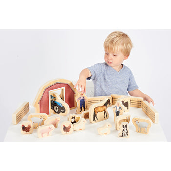 WOODEN FARM BLOCKS, Age 12mths+, Pack of 25