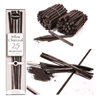 CHARCOAL STICKS, Coates Willow Sticks, Short assorted dia., Pack of 100