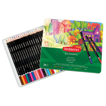 STANDARD HEXAGONAL COLOURED PENCILS, Derwent Academy, Pack of 24