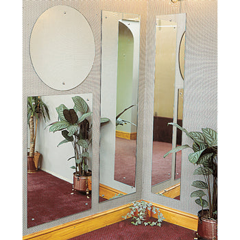 GLASS WALL MIRROR WITH SAFETY FILM BACKING, Polished Edge Range, 1000 x 500mm Rectangular, Each