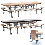 12 SEAT PRIMO MOBILE FOLDING TABLE, With Full Back, Moderno Oak