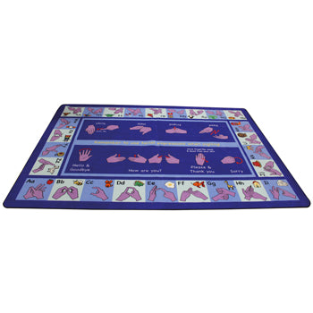LEARNING RUGS, CHILDREN'S CUT PILE RUGS, Large Sign Language, 2515 x 3555mm, Each