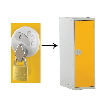 Half Height School Lockers, HALF HEIGHT WITH SWIVEL CATCH LOCK, SINGLE COMPARTMENT, Nest of 2 Lockers, Yellow doors
