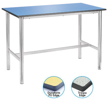 CRAFT/LABORATORY TABLES WITH PREMIUM FRAME, SPECKLED TRESPA TOP, 1500 x 750 x 900mm height, White
