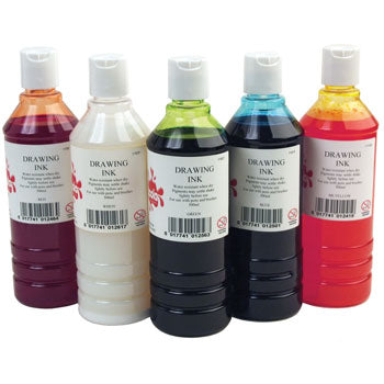 DRAWING INK, Waterproof, Large, Yellow, 500ml