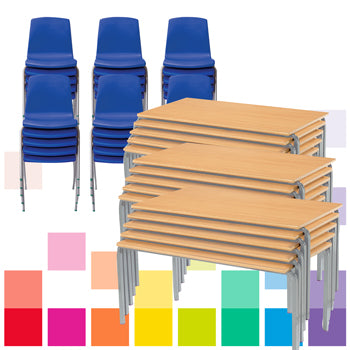 STACKING TABLES & CHAIRS CLASS PACK, RECTANGULAR, 1200 x 600mm depth, Sizemark 6 - 760mm height, Blue, Smartbuy