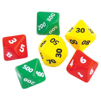 PLACE VALUE DICE, Hundreds, Tens + Units Set, Pack of 6