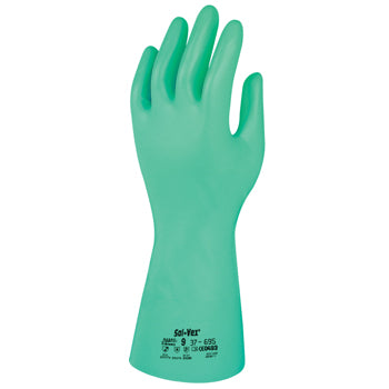 CHEMICAL RESISTANT GLOVES, Heavy Weight, Ansell Sol-Vex(R) 37-695, XLarge (11), Pair