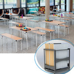 FAST FOLD TROLLEY SET, Table 1830 x 610 x 710mm height Bench 1830 x 305 x 450mm height, Beech