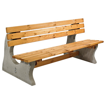 CONCRETE AND TIMBER, Park Bench, Red, Anchor Fast, Each