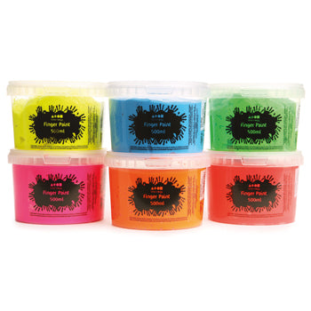 FINGER PAINT, Fluorescent, Pack of 6 x 500ml