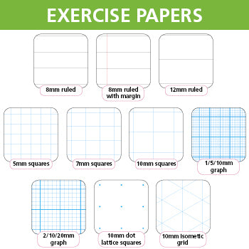 EXERCISE PAPERS, A4 (297 x 210mm), 75gsm White Paper - Single Reams and Packs, 2/10/20mm graph, with border, not punched, Ream of 500 sheets