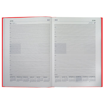 ACADEMIC YEAR 2020/21, A4 DESK DIARIES, ESPO, One Day to a Page, Red, Each