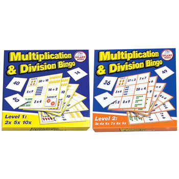 MULTIPLICATION & DIVISION BINGO, Level 1 and 2, Pack of 2