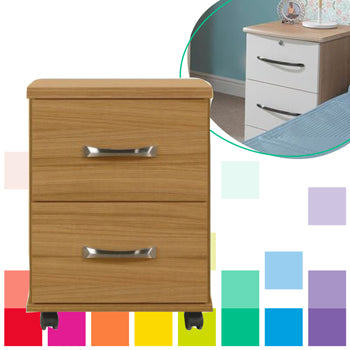 LOCKABLE BEDSIDE CHEST, With 2 Drawers, Light Oak, DISS BED CENTRE & FURNITURE W/HOUSE