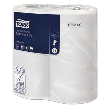 TORK CONVENTIONAL TOILET ROLL, Conventional Toilet Roll, 1 Ply, Case of 36 Rolls
