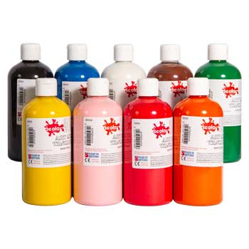 PAINT, READY MIXED WASHABLE, Standard Brights, Brilliant Red, 500ml