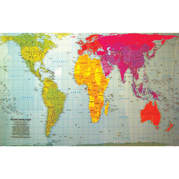 MAP, LAMINATED, Peters Projection Map of the World, 600 x 850mm, Each