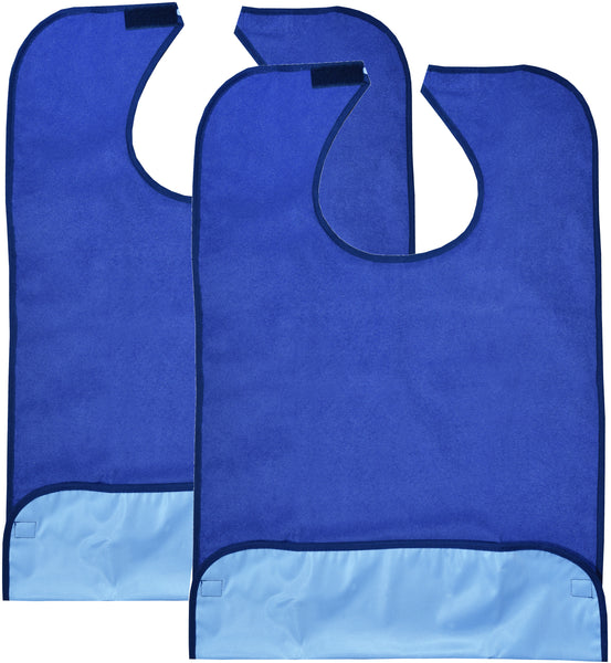 2 Pack Adult Bibs - Reusable and Washable Cotton Terry Cloth Aprons for Elderly, Seniors and Disabled