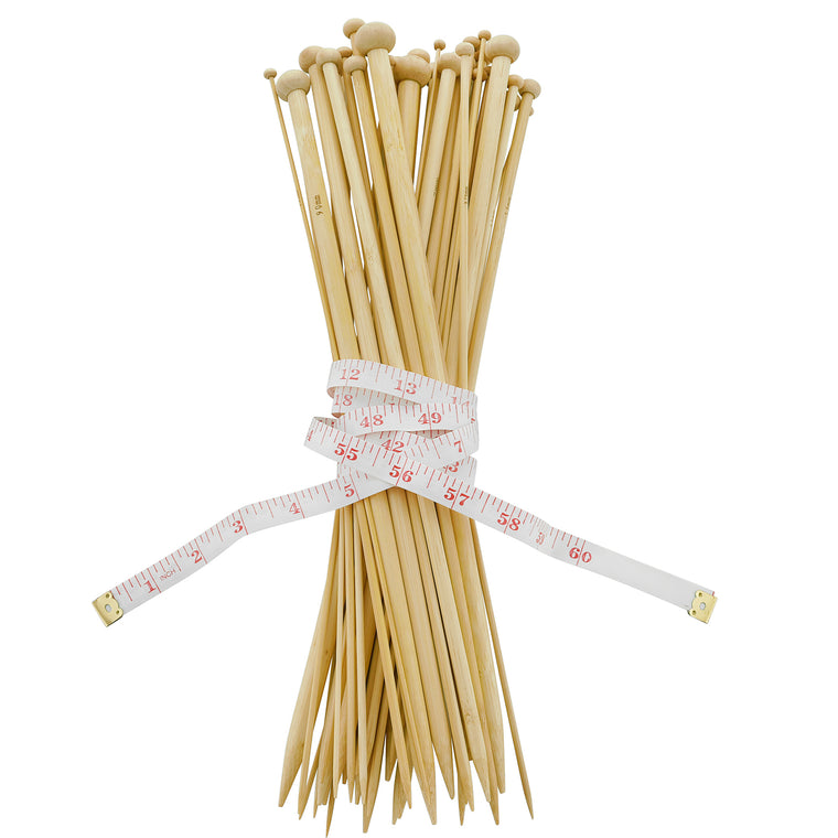 14 Inch Bamboo Knitting Needles Set