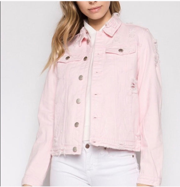 SAI Distressed Pink Denim Jacket