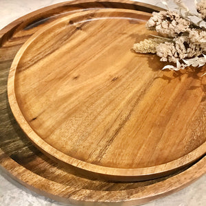 Round Cheeseboard / Serving Plates with Groove - Flat Base